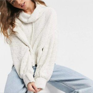 Free People Be Yours Funnel Oversized Chenille Sweater Vanilla Bean NWT